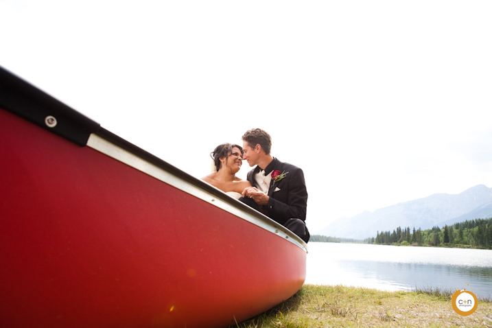 Canoe wedding photo