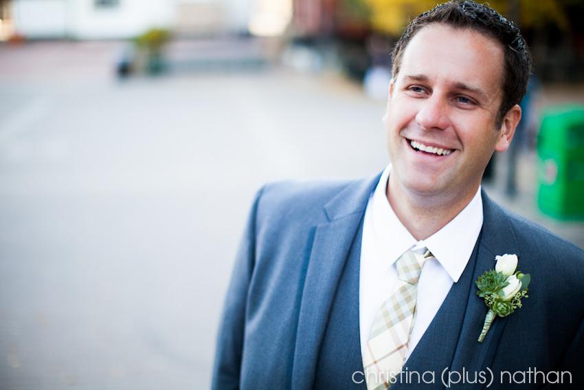 Calgary weddings first look in downtown