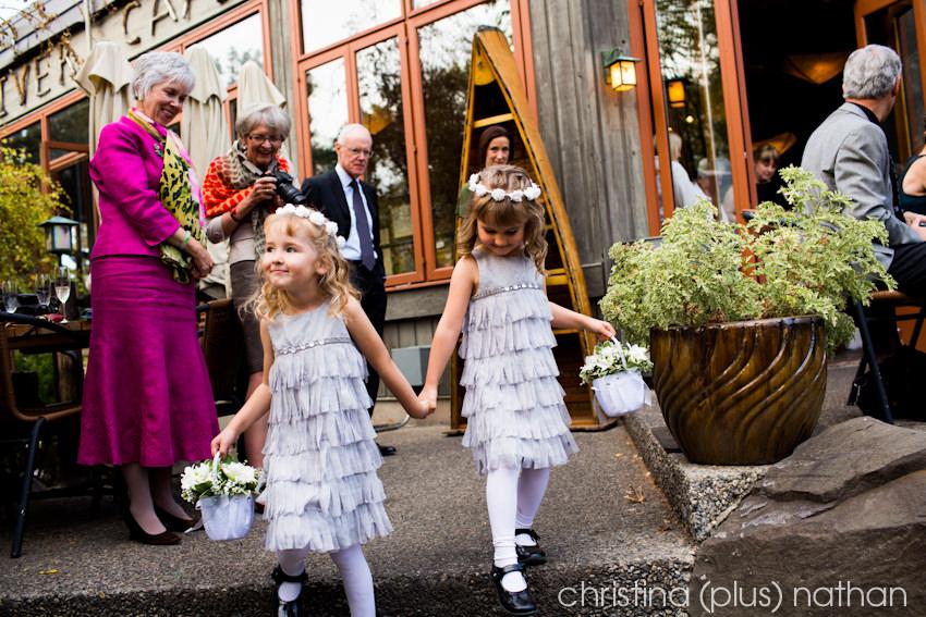 wedding ceremony at River Cafe Patio