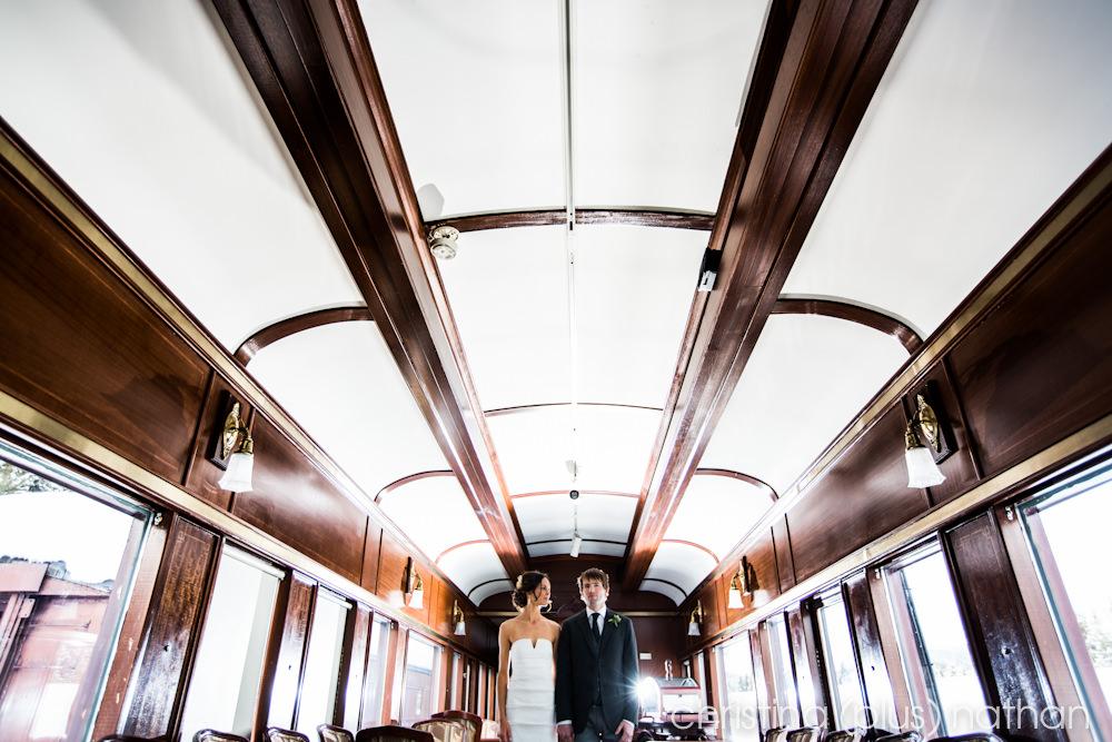 Lake Louse Winter wedding train car