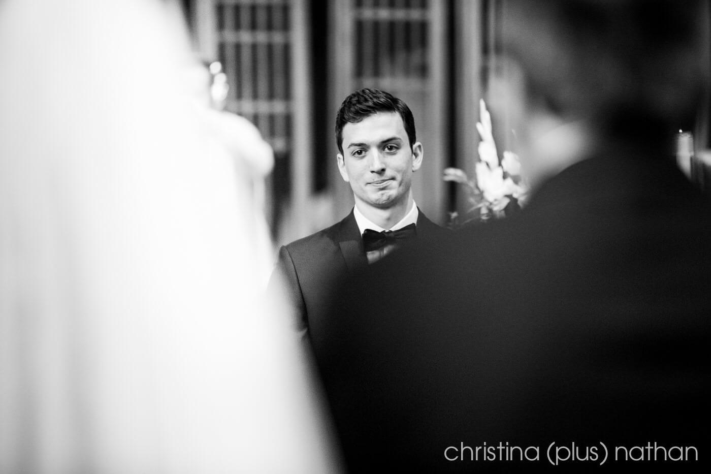 Groom reaction during wedding