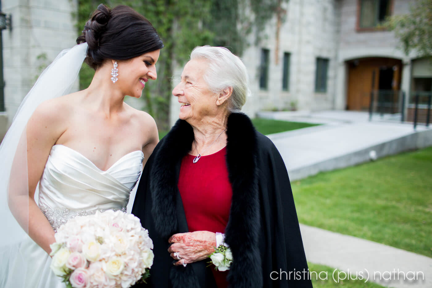 Bride with her grandma at wedding