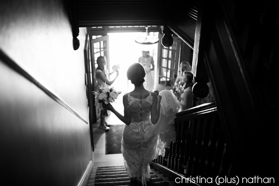 Bride going to ceremony at her Bow Valley Ranche Restaurant wedding