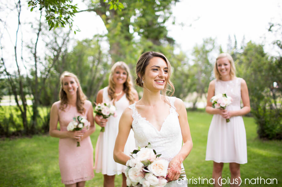 Bride and bridesmaids in Fish Creek Park