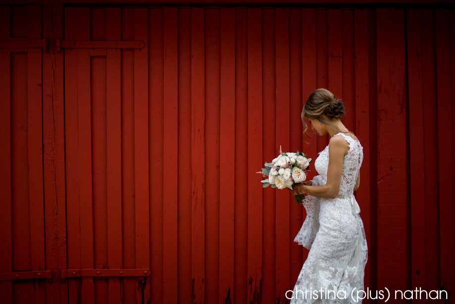 Bride with red barn in Fish Creek Park at her Bow Valley Ranche Restaurant wedding