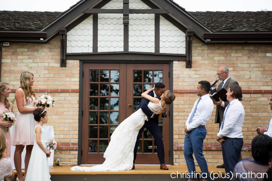 Wedding kiss at Bow Valley Ranche