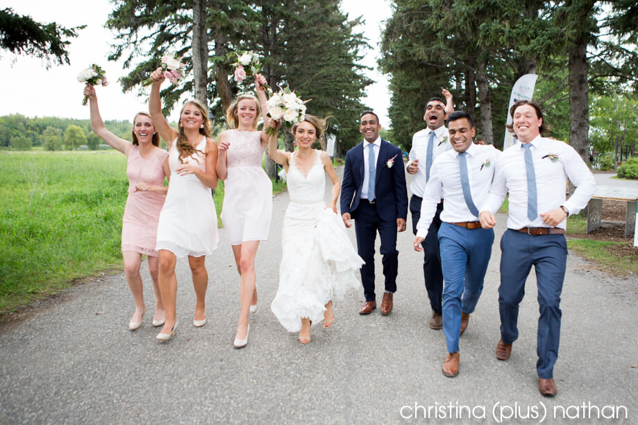 Running wedding party