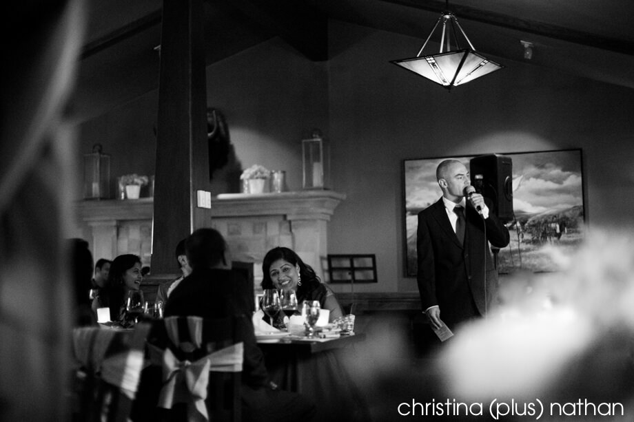 Black and white photo of wedding speech