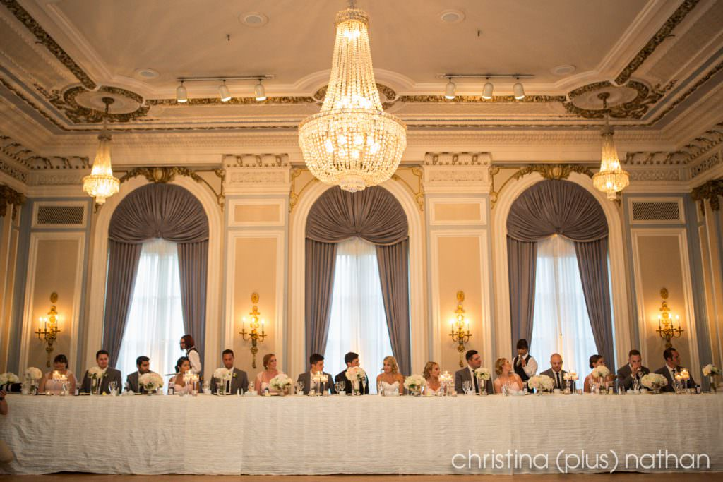 Crystal Ballroom with head table against windows