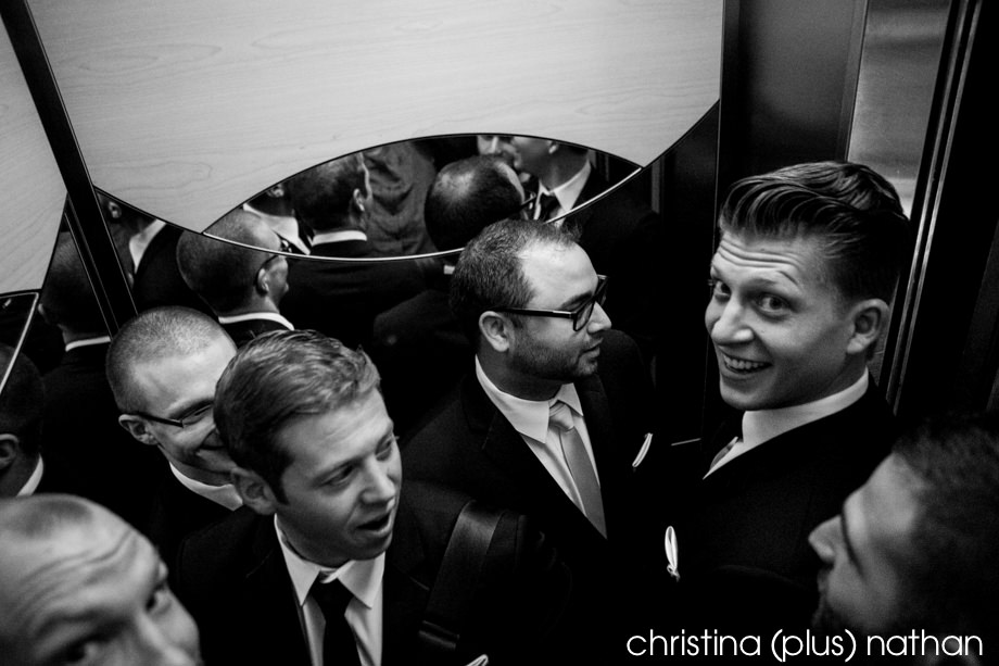 Groomsmen in an elevator