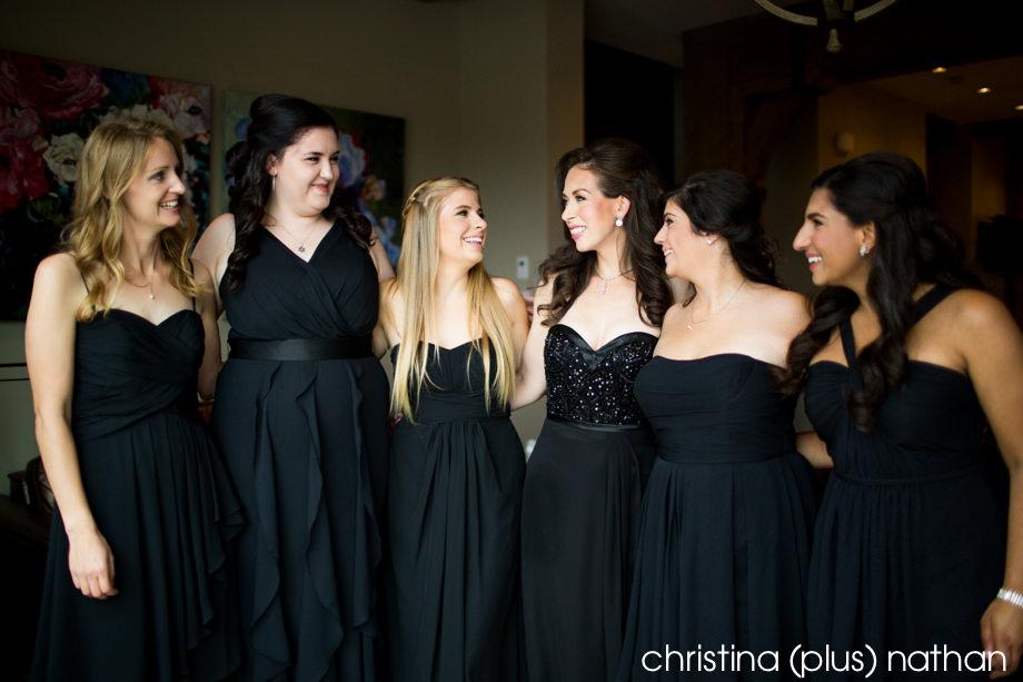 Calgary bridesmaids in black long dresses