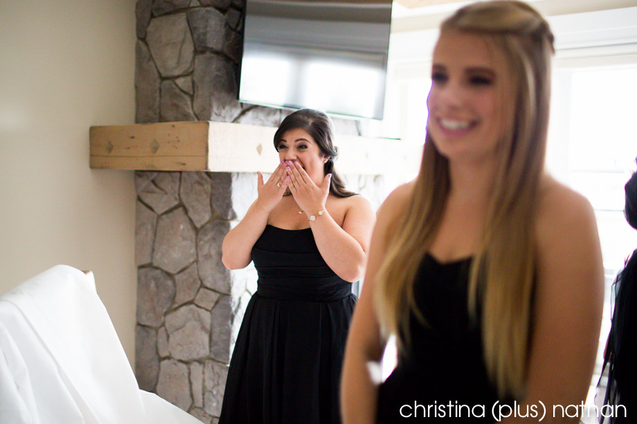 Bridesmaid reacts to seeing a Calgary bride