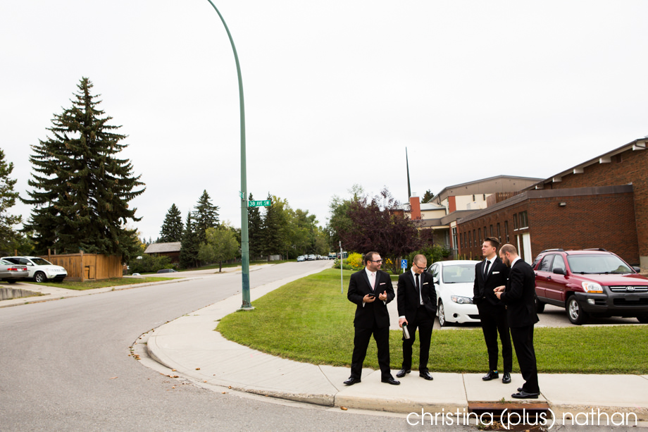 Groomsmen standing on a Calgary client