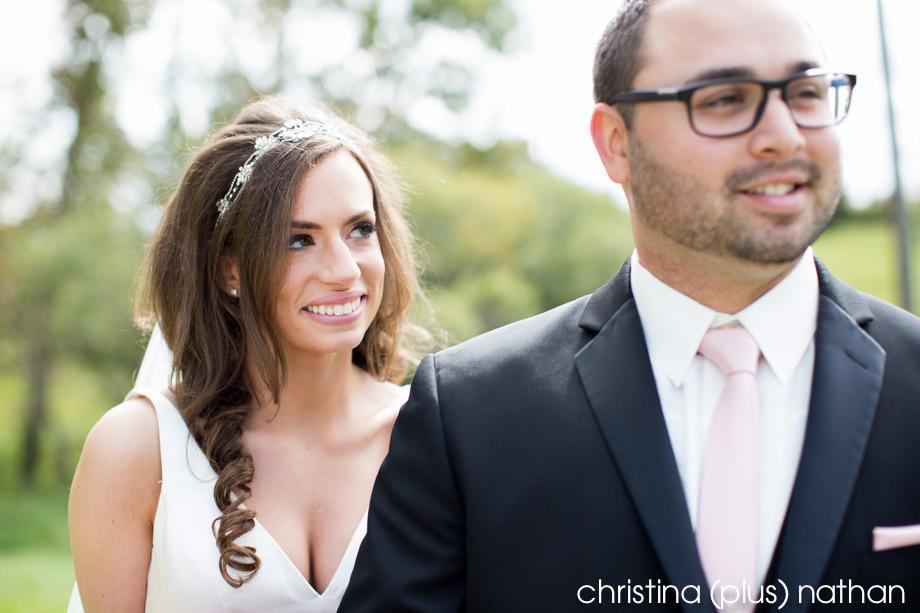 Bride looks at groom