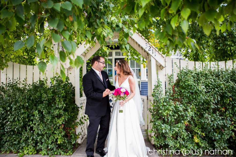 Calgary Jewish wedding with bride and groom infront of a house
