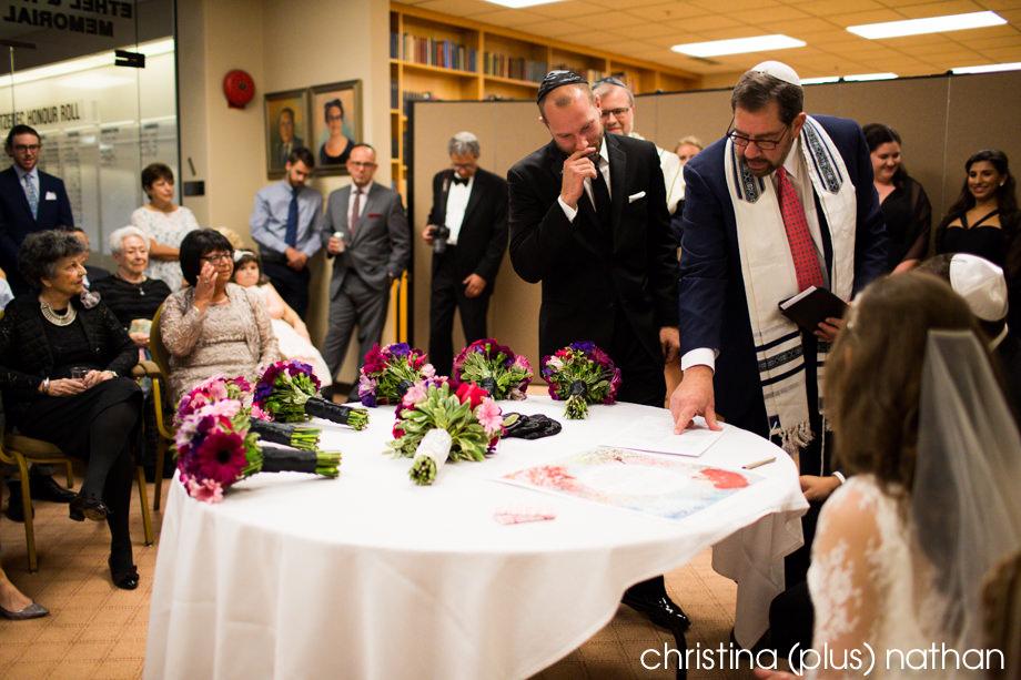 bedeken ceremony in Beth Tzedec wedding photos