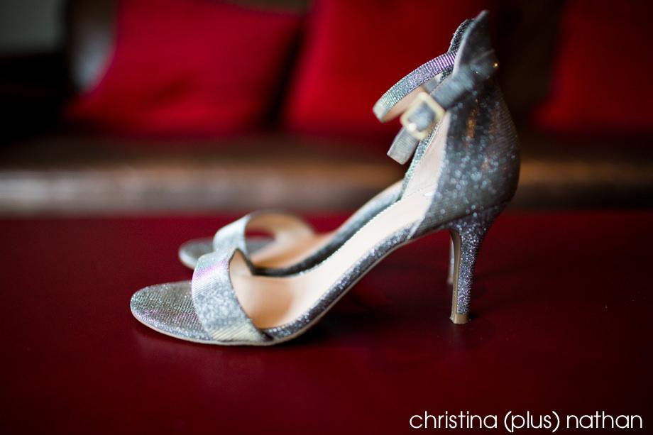 Silver wedding shoes for a Calgary Fall Wedding