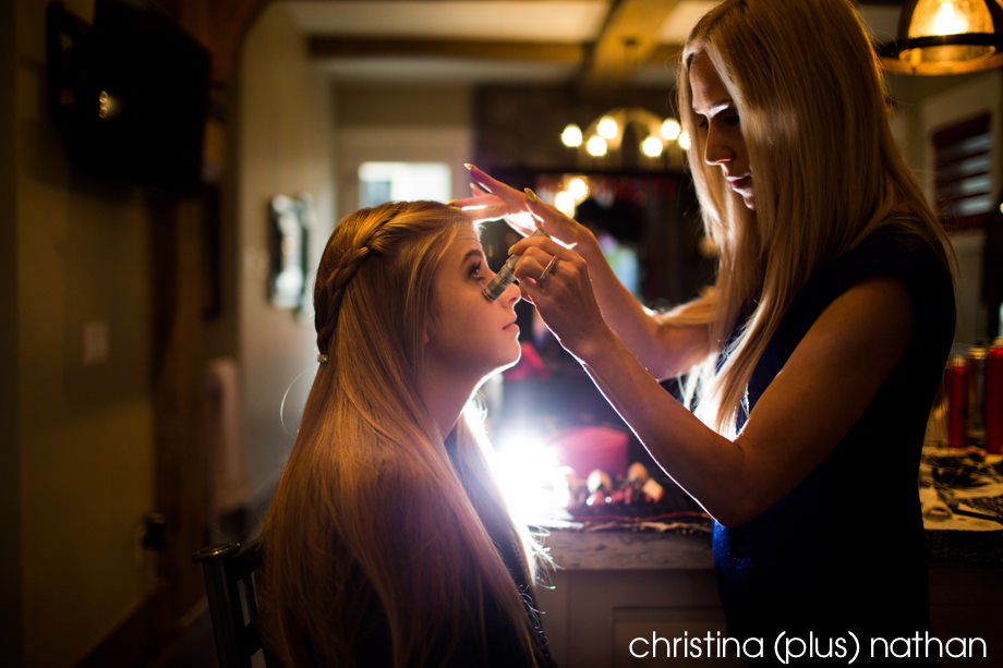 Creative flash lighting of a bridemaid during the getting ready