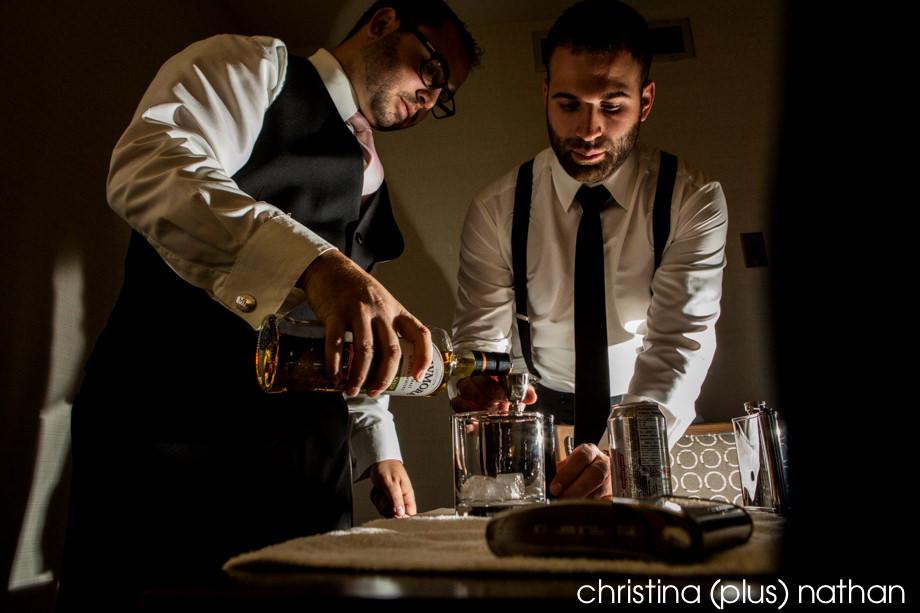 Creative Calgary wedding photography with groomsmen