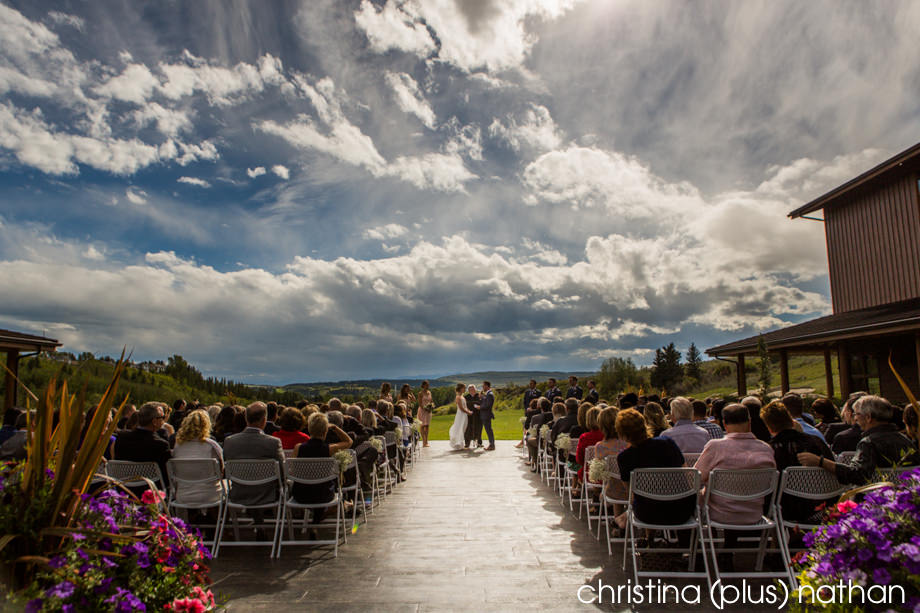 Outdoor ceremony at the Cochrane Ranchehouse
