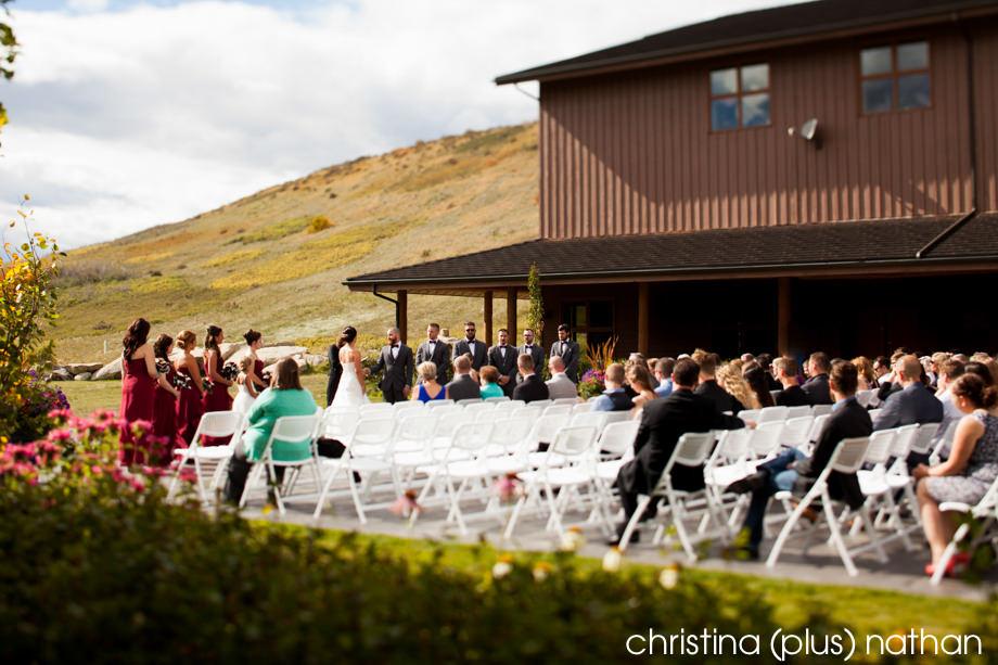 Cochrane Ranchehouse wedding ceremony patio garden