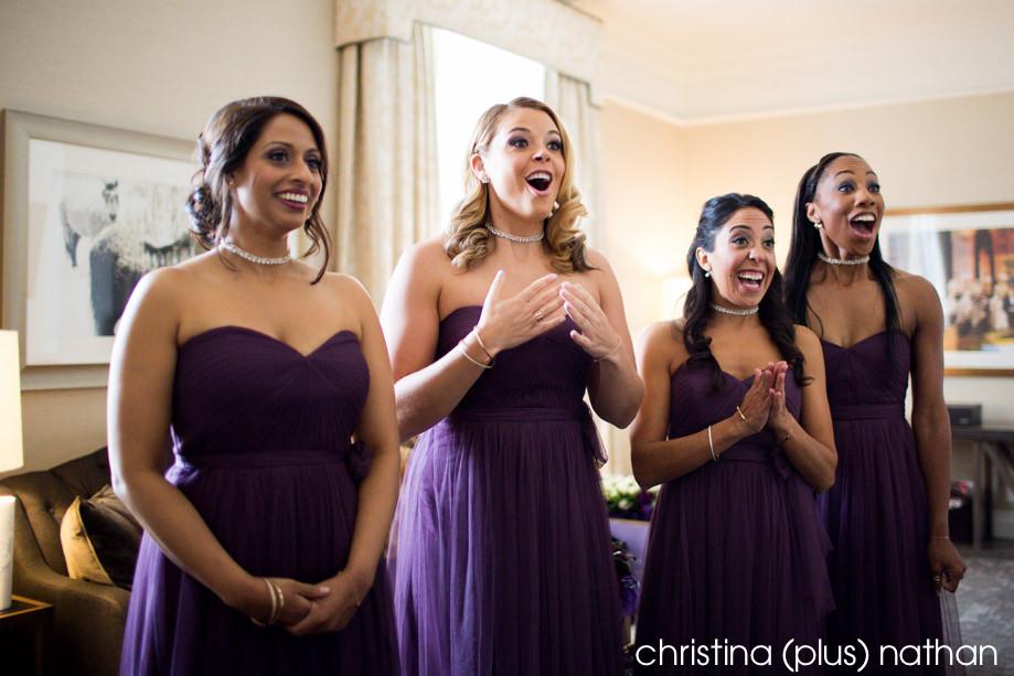 Bridesmaids react to seeing bride at Wedding