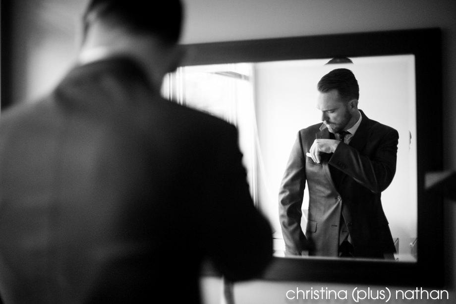 Groom getting readdy for wedding