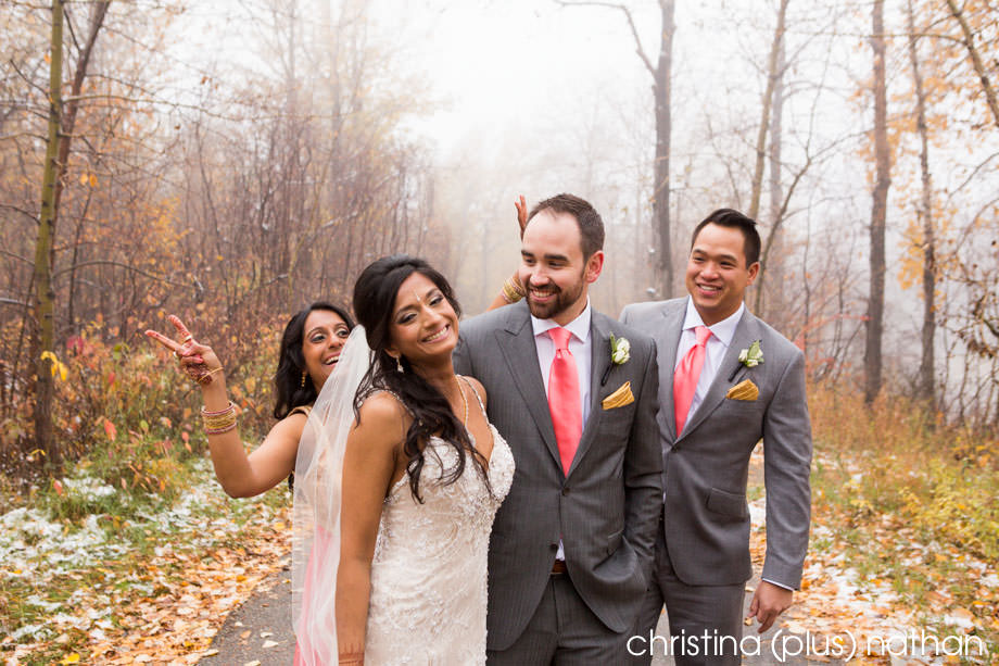 Small bridal party in fall wedding