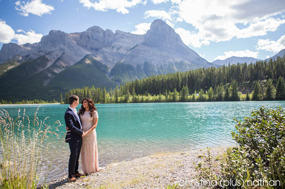 blue water rocky mountain engagement photography