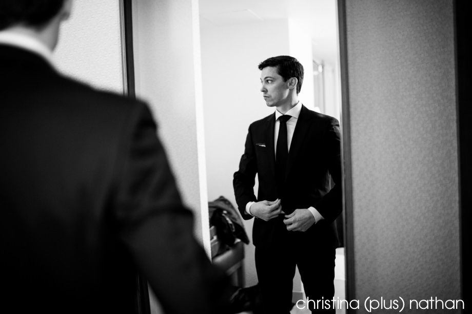 Groom in Westin Calgary wedding photography