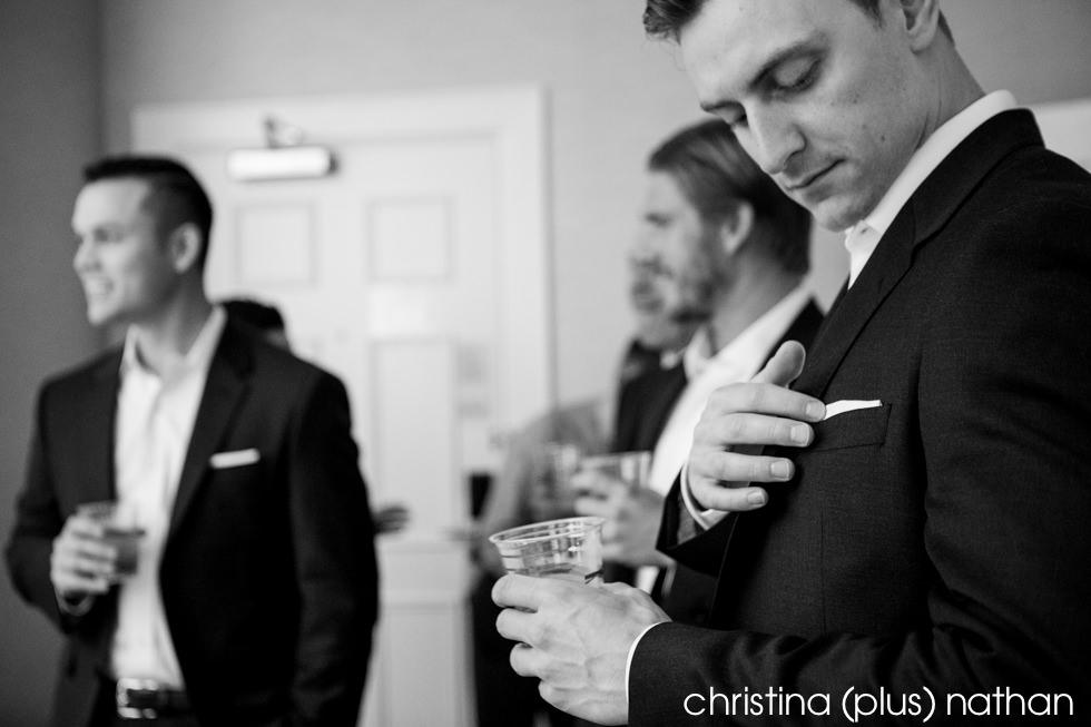 Groomsman getting ready for wedding