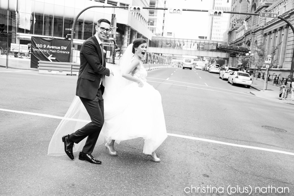candid photo of bride and groom in Calgary