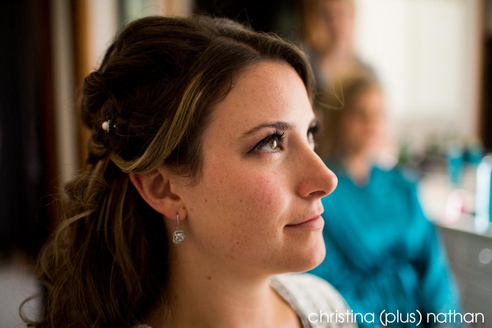 Calgary Bride doing her makeup
