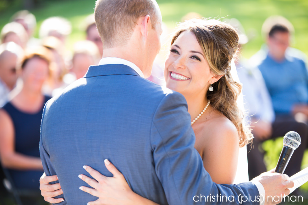 Bride and groom embrace at their Prince House Heritage Park wedding