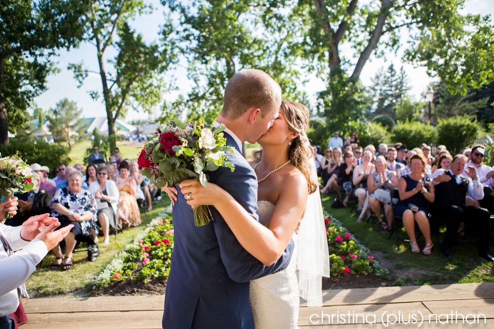 First Kiss at Heritage Park Prince House wedding