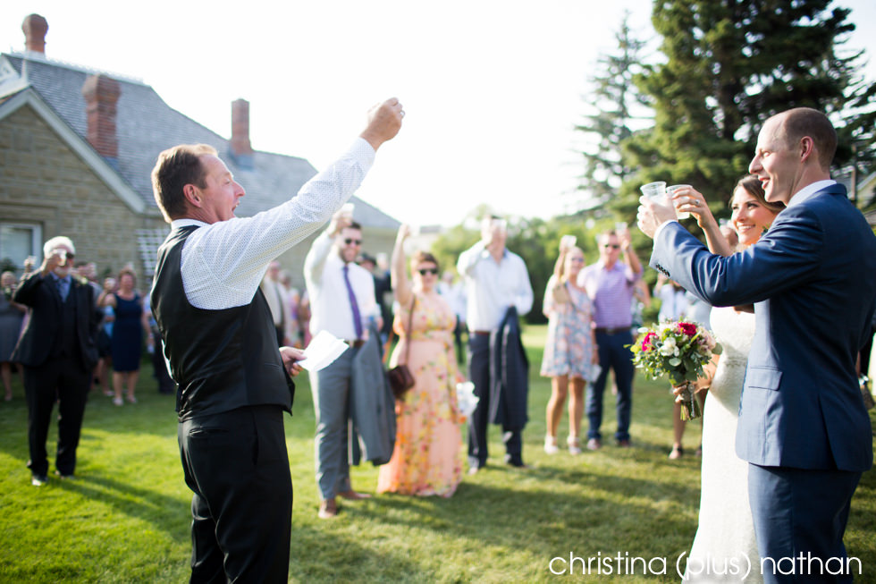 Father of the bride toasts the newlyweds at Heritage Prince house gazebo