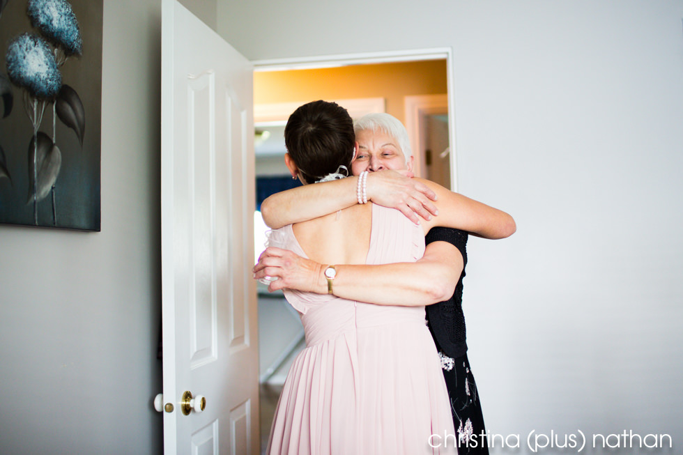 Photography of Bride hugging grandma before wedding