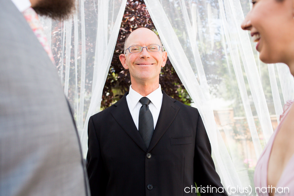 Calgary wedding officiant in backyard wedding