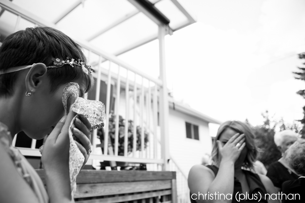 Candid Photography of Bride crying after wedding ceremony