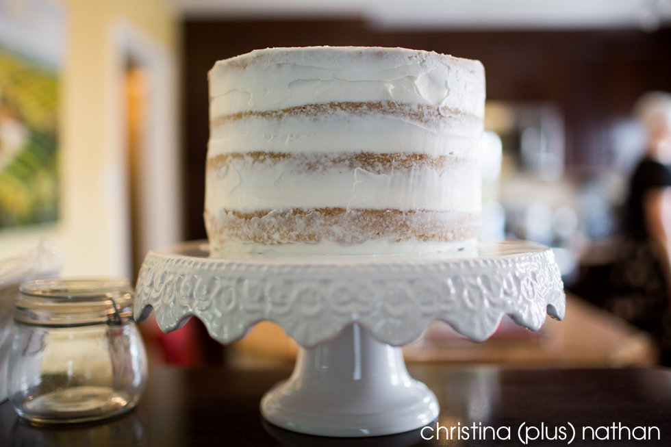 Photograph of naked wedding cake in Calgary