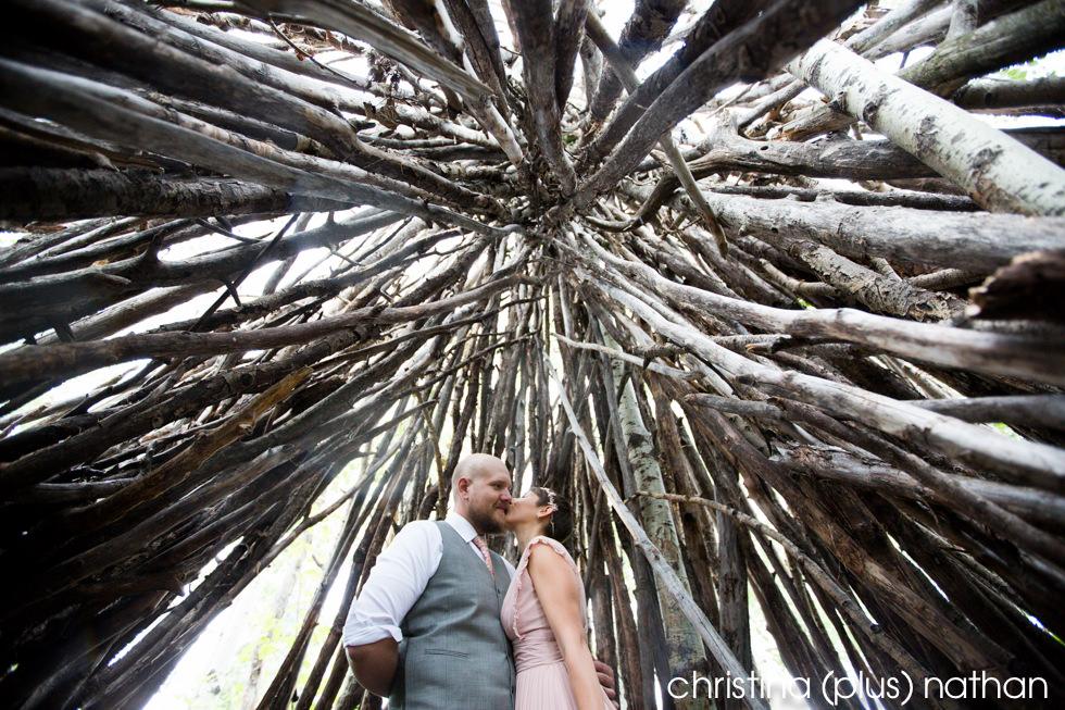 Creative wedding photography portrait inside a teepee