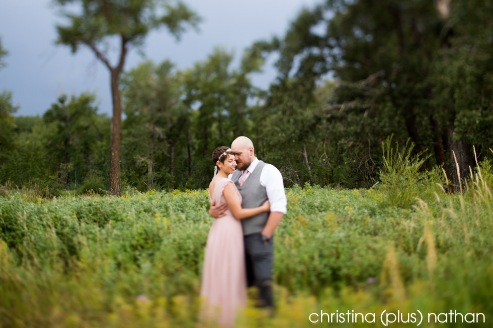 Wedding photography with a pink dress in Fishcreek Provincial park