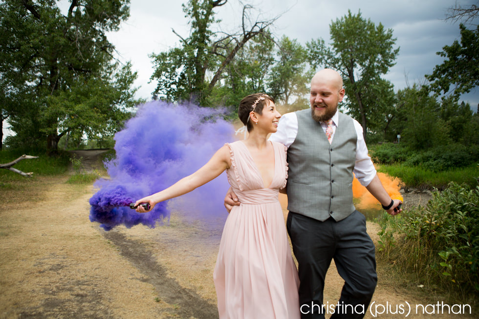 Smoke bombs at a Calgary wedding in the park