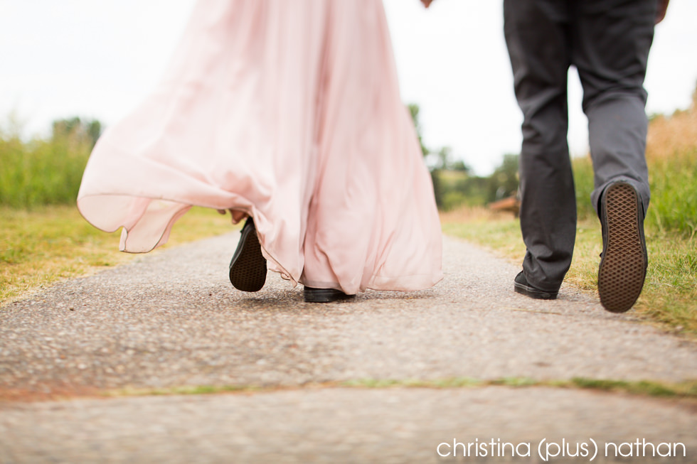 Bride and groom wear matching vans shoes at Calgary wedding