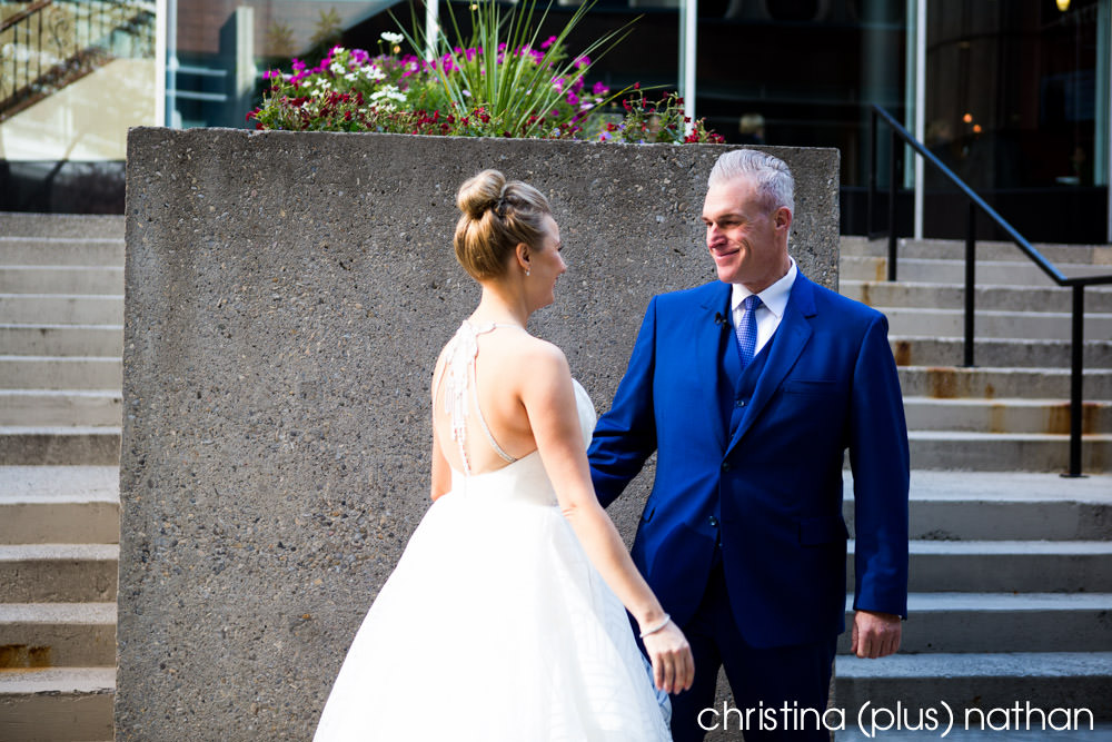 Bride and groom have a first look before their Calgary Bow Valley Ranche wedding
