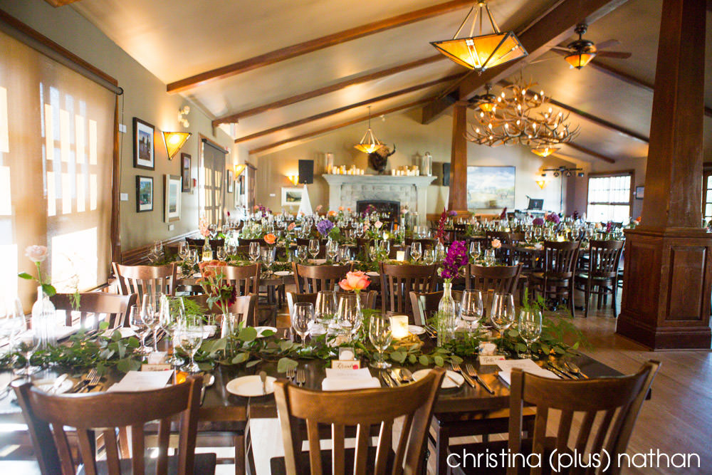 Bow Valley Ranche Restaurant set up for a wedding reception
