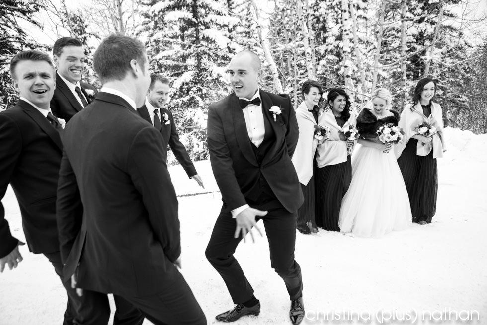 Wedding party has fun outside at their Azuridge Estate Hotel winter wedding