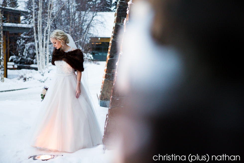 Bridal portrait at her Azuridge winter wedding