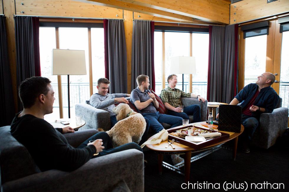 Groom and friends in Azuridge Hotel Room