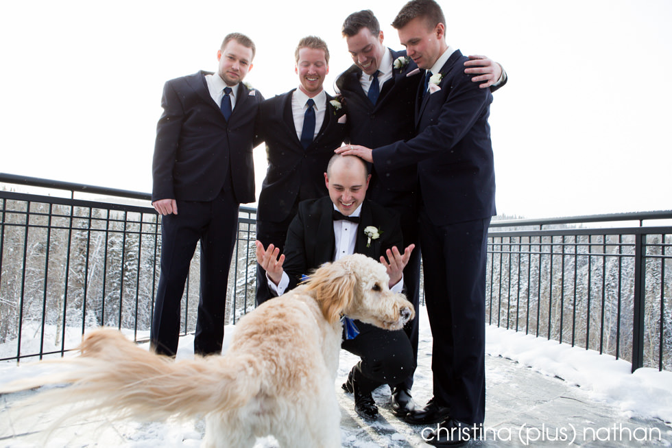 Groom winter wedding with a dog